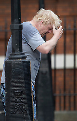 © Licensed to London News Pictures. 18/07/2017. London, UK. Foreign Secretary Boris Johnson returns from a jog before attending cabinet. Photo credit: Peter Macdiarmid/LNP