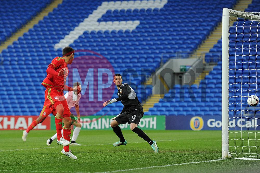 Tom O'Sullivan of Wales u21s (Cardiff City) scores a goal to make it 1-0 - Photo mandatory by-line: Dougie Allward/JMP - Mobile: 07966 386802 - 31/03/2015 - SPORT - Football - Cardiff - Cardiff City Stadium - Wales v Bulgaria - U21s International Friendly