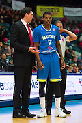 Ricky Ledo (7) of the Texas Legends speaks with head coach Eduardo Najera against the Los Angeles D-Fenders on Friday, January 9, 2015 at the Dr. Pepper Arena in Frisco, Texas. (Cooper Neill/Special Contributor)
