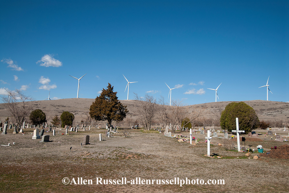 Saddle Mountain Cemetery, Kiowa Indian Cemetary, established early twentieth century, Wind generators, Wichita Mountains, northwest of Lawton, Oklahoma