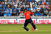 Jonny Bairstow of England plays an attacking shot during the International T20 match between England and India at the SWALEC Stadium, Cardiff, United Kingdom on 6 July 2018. Picture by Graham Hunt.