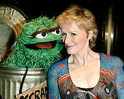 NEW YORK - June 4: [US TABS AND HOLLYWOOD REPORTER OUT] Actress Glenn Close (R)  and Muppet Oscar The Grouch (L) attend the Sesame Street Workshop 35th Anniversary Gala at Cipriani June 4, 2003 in New York City.   (Photo by Matthew Peyton)
