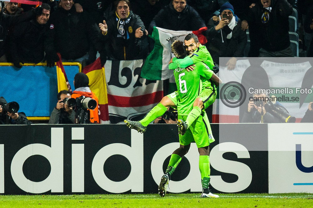 Malm&ouml; 2014-11-26: <br /> <br /> Juventus 10 Carlos Tevez celebrates scoring the 2-0 goal against Malm&ouml; FF with Juventus 6 Paul Pogba durring a Champions League group stage match at Swedbank Stadium on November 26th, 2014 in Malm&ouml;, Sweden.  <br /> <br /> (Photo: Michael Campanella / Pic-Agency)