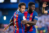 FC Barcelona's forward Neymar Santos Jr and defender Samuel Umiti celebrating a goal during Copa del Rey (King's Cup) Final between Deportivo Alaves and FC Barcelona at Vicente Calderon Stadium in Madrid, May 27, 2017. Spain.<br /> (ALTERPHOTOS/BorjaB.Hojas)