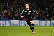 Leicester City Goalkeeper Kasper Schmeichel and celebrates as Leicester City Defender Wes Morgan scores a goal 1-0 during the Champions League round of 16, game 2 match between Leicester City and Sevilla at the King Power Stadium, Leicester, England on 14 March 2017. Photo by Richard Holmes.