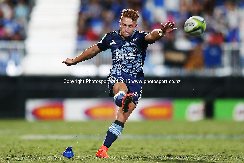 Ihaia West of the Blues kicks a penalty. Super Rugby match, Blues v Chiefs at QBE Stadium, Auckland, New Zealand. Saturday 14 February 2015. Photo: Anthony Au-Yeung / www.photosport.co.nz