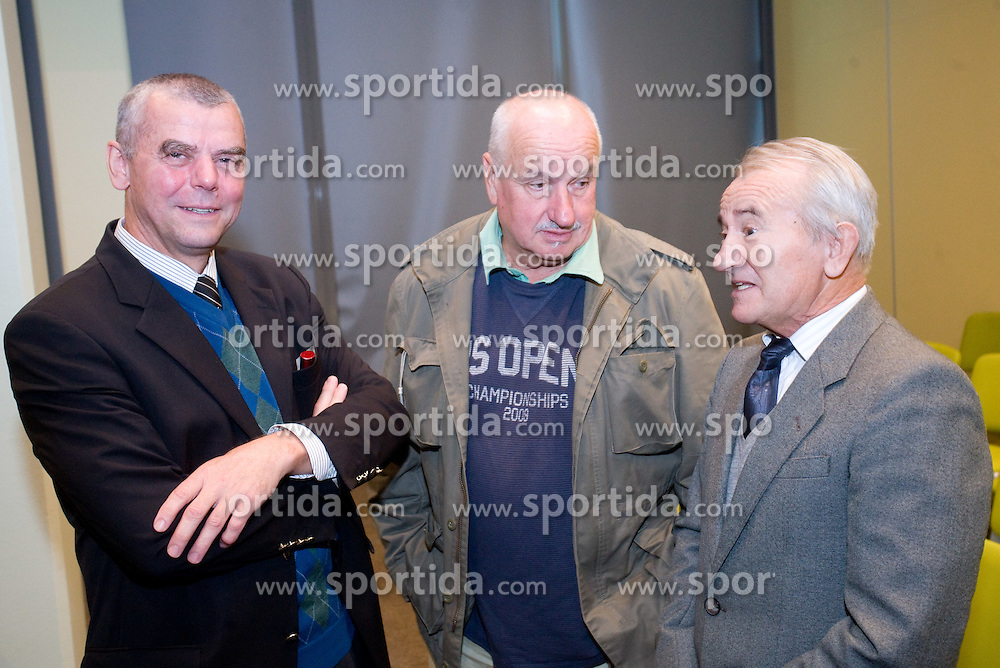 "Aleksander Lucu (middle) and Tine Srot at presentation of a new book of one of the best Slovenian gymnast Miro Cerar named ""Miroslav Cerar in njegov cas - Miroslav Cerar and his time"" at his 70 years anniversary, on October 30, 2009, in Hotel Mons, Ljubljana, Slovenia.   (Photo by Vid Ponikvar / Sportida)"