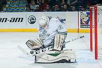 KELOWNA, CANADA - NOVEMBER 25: Logan Flodell #31 of Seattle Thunderbirds makes a save during first period against the Kelowna Rockets on November 25, 2015 at Prospera Place in Kelowna, British Columbia, Canada.  (Photo by Marissa Baecker/Getty Images)  *** Local Caption *** Logan Flodell;