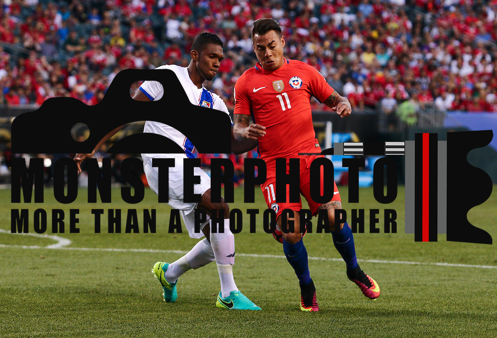 Chile Attacker EDUARDO VARGAS (11) and Panama Defender RODERICK MILLER (5) fight for the ball in the  first half of a Copa America Centenario Group D match between the Chile and Panama Tuesday, June. 14, 2016 at Lincoln Financial Field in Philadelphia, PA.
