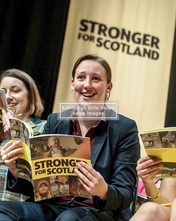 SNP's Mhairi Black - the youngest MP in the last parliament - looks through the manifesto prior to it's  launch.<br /> © Dave Johnston/ EEm