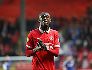 Charlton Athletic striker, Yaya Sanogo (25) after the game during the Sky Bet Championship match between Charlton Athletic and Cardiff City at The Valley, London, England on 13 February 2016. Photo by Matthew Redman.