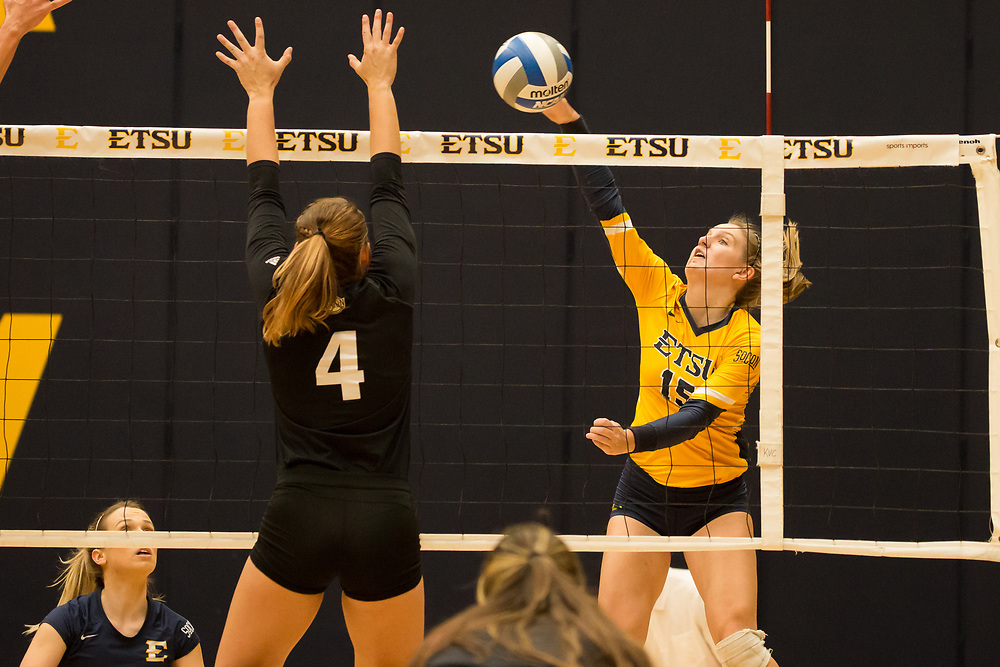 October 6, 2017 - Johnson City, Tennessee - Brooks Gym: ETSU outside hitter Rylee Milhorn (15)<br /> <br /> Image Credit: Dakota Hamilton/ETSU