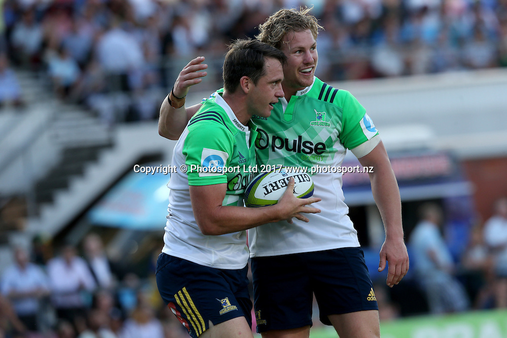 Ben Smith celebrates his try. 2017 Waratahs v Highlanders. Super Rugby trial match played at Lottoland (Brookvale Oval) Sydney NSW. Thursday 16 February 2017. Photo Clay Cross / photosport.nz
