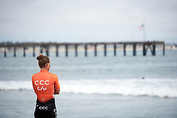 Evy Kuijpers (NED) looks out to the ocean at Amgen Tour of California Women's Race empowered with SRAM 2019 - Team Presentation in Ventura, United States on May 15, 2019. Photo by Sean Robinson/velofocus.com