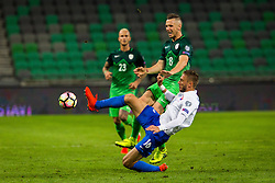 Kornel Salata of Slovakia and Jasmin Kurtic of Slovenia during football match between National teams of Slovenia and Slovakia in Round #2 of FIFA World Cup Russia 2018 qualifications in Group F, on October 8, 2016 in SRC Stozice, Ljubljana, Slovenia. Photo by Ziga Zupan / Sportida