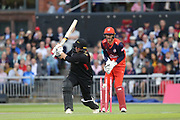 Leicestershire Foxes Mark Cosgrove bowled  during the Vitality T20 Blast North Group match between Lancashire Lightning and Leicestershire Foxes at the Emirates, Old Trafford, Manchester, United Kingdom on 30 August 2019.
