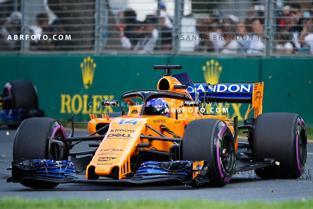 McLaren driver Fernando Alonso of Spain during the 2018 Rolex Formula 1 Australian Grand Prix at Albert Park, Melbourne, Australia, March 24, 2018.  Asanka Brendon Ratnayake