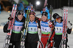 04.01.2012, DKB-Ski-ARENA, Oberhof, GER, E.ON IBU Weltcup Biathlon 2012, Staffel Frauen, im Bild Fanny Welle-Strand Horn, Elise Ringen , Tora Berger und Synnoeve Solemdal (alle NOR) holen den 2. Platz in der Staffel // during relay Ladies of E.ON IBU World Cup Biathlon, Thüringen, Germany on 2012/01/04. EXPA Pictures © 2012, PhotoCredit: EXPA/ nph/ Hessland..***** ATTENTION - OUT OF GER, CRO *****
