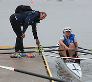 Amsterdam. NETHERLANDS.  Finnish Coach, Pertti KARPPINEN. Tuesday morning training, wet and misty. 2014 World Rowing Champions . 09:04:42  Tuesday  DATE}  [Mandatory Credit; Peter Spurrier/Intersport-images]