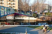 Pedestrian bridge over Naviglio Martesana (canal) at Tofane street in Milan, January, 2011. &copy; Carlo Cerchioli<br /> <br /> Ponte pedonale sul Naviglio Martesana vicino a via Tofane, Milano, gennaio 2011.