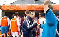 AERDENHOUT - 09-04-2012 - Dave Smolenaars , maandag na de gewonnen finale tussen Nederland Jongens B en Spanje Jongens B  (3-1) , tijdens het Volvo 4-Nations Tournament op de velden van Rood-Wit in Aerdenhout. Jongens U16 wordt kampioen.FOTO KOEN SUYK