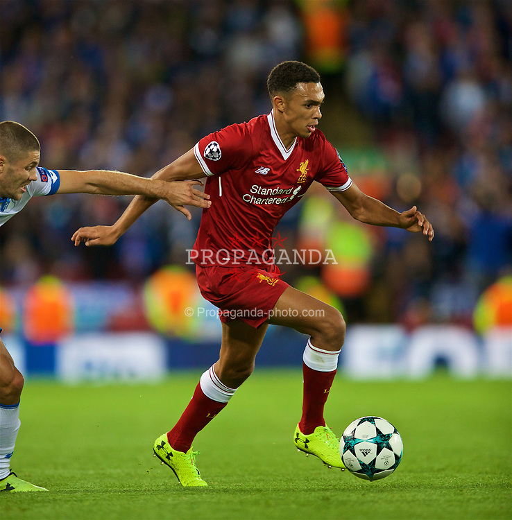 LIVERPOOL, ENGLAND - Wednesday, August 23, 2017: Liverpool's Trent Alexander-Arnold during the UEFA Champions League Play-Off 2nd Leg match between Liverpool and TSG 1899 Hoffenheim at Anfield. (Pic by David Rawcliffe/Propaganda)