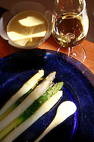 Burgundy, France..for story by Eric Asimov concerning a number of young, excellent winemakers...Asparagus with a Zabaglione sauce by.Fabienne Escoffier, the chef of Ma Cuisine, which she owns in Beaune with her husband Pierre, who is the host and wine  . steward...Photo by Owen Franken for the NY Times..May 28, 2008