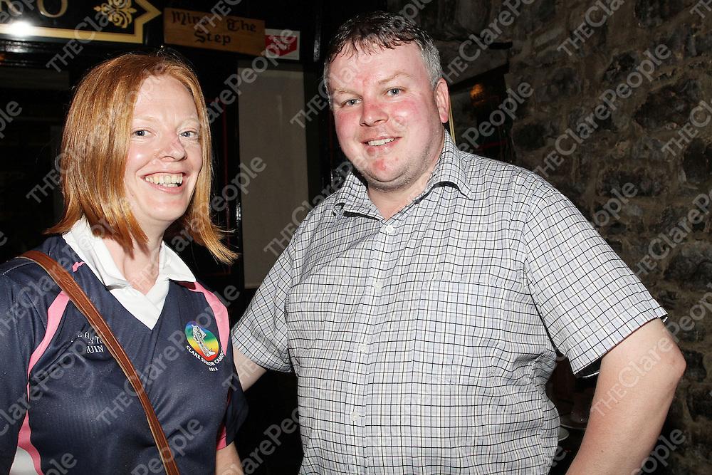 Deirdre Murphy & John Carmody (Manager) celebrating their win over Cork in the Munster Senior Camogie Final. - Photograph by Flann Howard