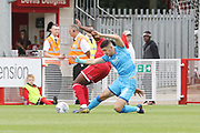 Nathan Ferguson and Sean Long   during the EFL Sky Bet League 2 match between Crawley Town and Cheltenham Town at The People's Pension Stadium, Crawley, England on 31 August 2019.