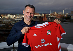 CARDIFF, WALES - Monday, January 15, 2018: New Wales national team manager Ryan Giggs poses for a portrait at the St. David's Hotel in Cardiff. (Pic by David Rawcliffe/Propaganda)
