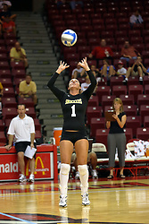 21 September 2007: Kelly Broussard sets.  The Wichita State Shockers bested the the Illinois State Redbirds on the floor of Doug Collins Court in Redbird Arena on the campus of Illinois State University in Normal Illinois taking the match in three games.