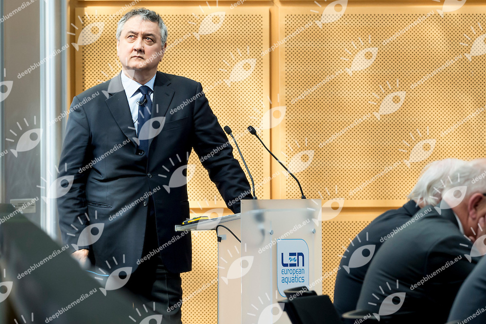 Paolo Barelli LEN president<br /> LEN 2016 Extraordinary Congress<br /> London, East Winter Garden, Canary Wharf<br /> Day 0 08-05-2016<br /> Photo Giorgio Scala/Deepbluemedia/Insidefoto