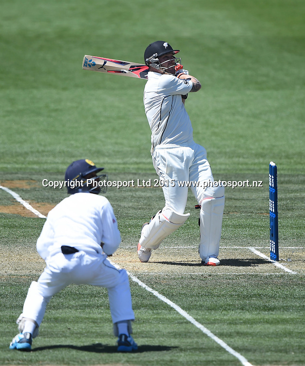 Brendon McCullum hooks and is caught on day 2 of the 2nd cricket test match between New Zealand Black Caps and Sri Lanka at Seddon Park in Hamilton, New Zealand. Saturday 19 December 2015. Copyright photo: Andrew Cornaga / www.photosport.nz
