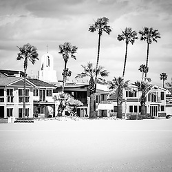 Newport Beach oceanfront homes black and white picture. Newport Beach is a wealthy beach city along the Pacific Ocean in Orange County Southern California.
