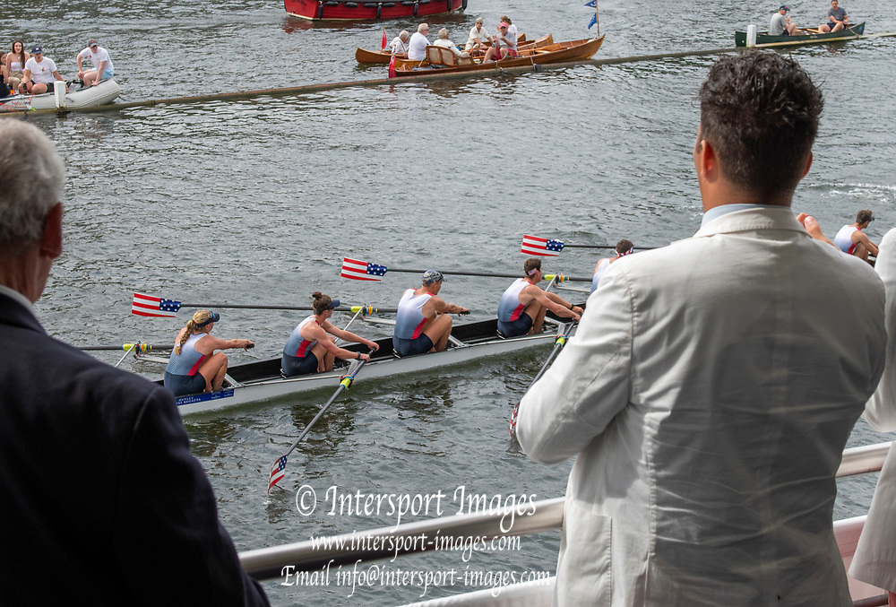 Henley on Thames, England, United Kingdom, Saturday, 06.07.19, United States Armed Forces, U.S.A., passing the Grandstand, in the Semi-Final, of the King's Cup, Henley Royal Regatta,  Henley Reach, [©Karon PHILLIPS/Intersport Images]<br /> <br /> 16:26:45 1919 - 2019, Royal Henley Peace Regatta Centenary,