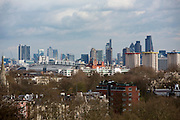 Landscape view of the city of London skyline with iconic modern architectural buildings including Canary Wharf, HSBC and The Gherkin taken from Primrose Hill, London, England, United Kingdom. (photo by Andrew Aitchison / In pictures via Getty Images)
