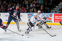 KELOWNA, CANADA - APRIL 4: Tyson Baillie #24 of Kelowna Rockets attempts to block a shot against the Kamloops Blazers on April 4, 2016 at Prospera Place in Kelowna, British Columbia, Canada.  (Photo by Marissa Baecker/Shoot the Breeze)  *** Local Caption *** Tyson Baillie;