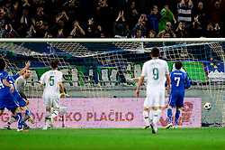 Italy scored against goalkeeper of Slovenia Samir Handanovic during EURO 2012 Quaifications game between National teams of Slovenia and Italy, on March 25, 2011, SRC Stozice, Ljubljana, Slovenia. Italy defeated Slovenia 1-0.  (Photo by Vid Ponikvar / Sportida)