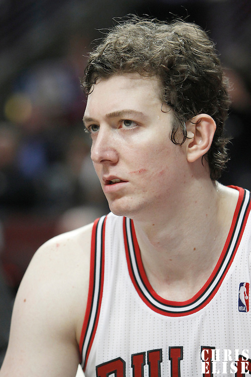 24 March 2012: Chicago Bulls center Omer Asik (3) is seen on the bench during the Chicago Bulls 102-101 victory in overtime over the Toronto Raptors at the United Center, Chicago, Illinois, USA.