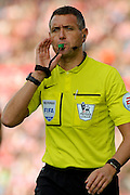 Referee Andre Marriner during the Barclays Premier League match between Stoke City and Leicester City at the Britannia Stadium, Stoke-on-Trent, England on 19 September 2015. Photo by Aaron Lupton.