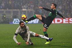 """Foto Filippo Rubin<br /> 10/02/2019 Reggio Emilia (Italia)<br /> Sport Calcio<br /> Sassuolo - Juventus - Campionato di calcio Serie A 2018/2019 - Stadio """"Mapei Stadium""""<br /> Nella foto: POL LIROLA (SASSUOLO) VS MATTIA DE SCIGLIO (JUVENTUS)<br /> <br /> Photo Filippo Rubin<br /> February 10, 2019 Reggio Emilia (Italy)<br /> Sport Soccer<br /> Sassuolo vs Juventus - Italian Football Championship League A 2018/2019 - """"Mapei Stadium"""" Stadium <br /> In the pic: POL LIROLA (SASSUOLO) VS MATTIA DE SCIGLIO (JUVENTUS)"""