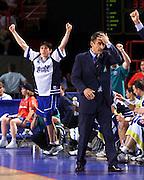 Parigi 03/07/1999<br /> Campionati Europei di Basket Francia 1999<br /> Finale<br /> Italia-Spagna<br /> Davide Bonora esulta e Boscia Tanjevic sembra non credere ai suoi occhi