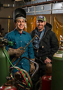 Victor Rodriguez, left, poses for a photograph with instructor Clay Stamper, right, in the welding lab at Milby High School, January 6, 2017.