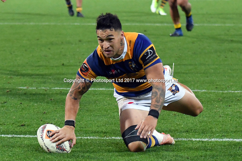 Bay of Plenty's Terrence Hepetema goes over for his try during the Mitre 10 Cup Finals match between Wellington v Bay of Plenty, Westpac Stadium, Friday 27th October 2017. Copyright Photo: Raghavan Venugopal / © www.Photosport.nz 2017