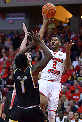 14 January 2017:  DJ Clayton(2) pulls up short of Zach Brown to take a jumpshot during an NCAA  MVC (Missouri Valley conference) mens basketball game between the Wichita State Shockers the Illinois State Redbirds in  Redbird Arena, Normal IL