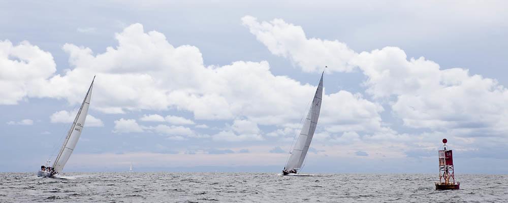 Fearless and Hanuman sailing in the Newport Bucket Regatta, race 2.