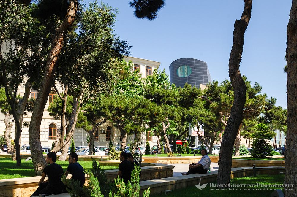 Azerbaijan, Baku. A park in Baku close to the seafront.