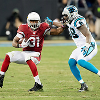 Carolina Panthers outside linebacker Thomas Davis (58) tackles Arizona Cardinals running back David Johnson (31)