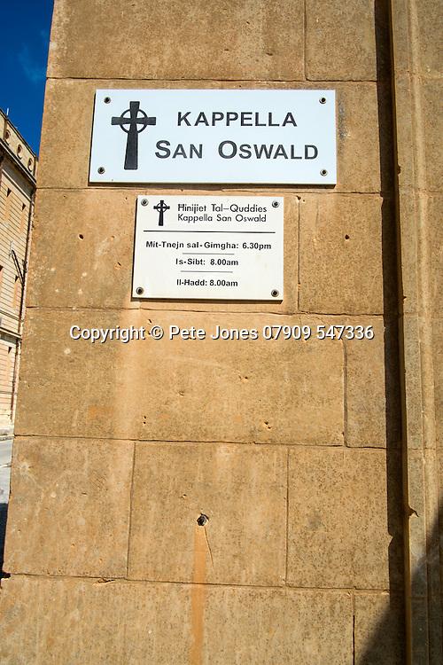 Kappella San Oswald,<br />San Oswald Chapel,<br />Mtarfa,<br />Malta, Europe.<br />Summer 2016.