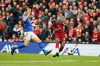 Football - 2019 / 2020 Premier League - Liverpool vs. Newcastle United<br /> <br /> Sadio Mane scores the opening goal to put his team 1-0 ahead just before half time , at Anfield.<br /> <br /> COLORSPORT/ALAN MARTIN